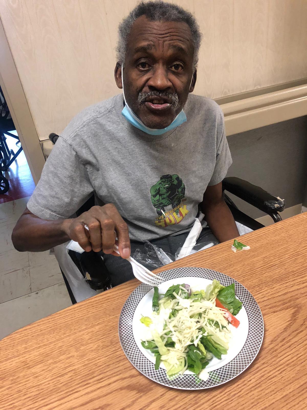 Enjoying a delicious and healthy salad bar